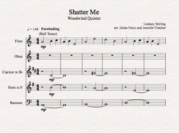 Woodwind Quintet Shatter Me Sheet Music