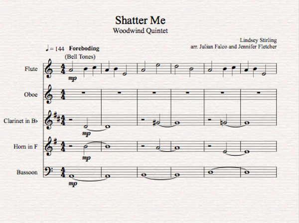 Brass Quintet - Shatter Me - Sheet Music