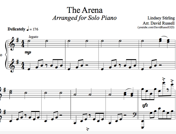 PIANO - The Arena Sheet Music