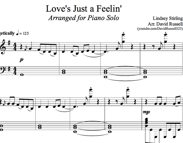 PIANO - Love's Just a Feeling Sheet Music