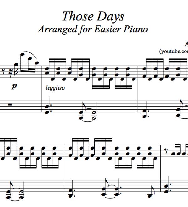 PIANO - Those Days Sheet Music