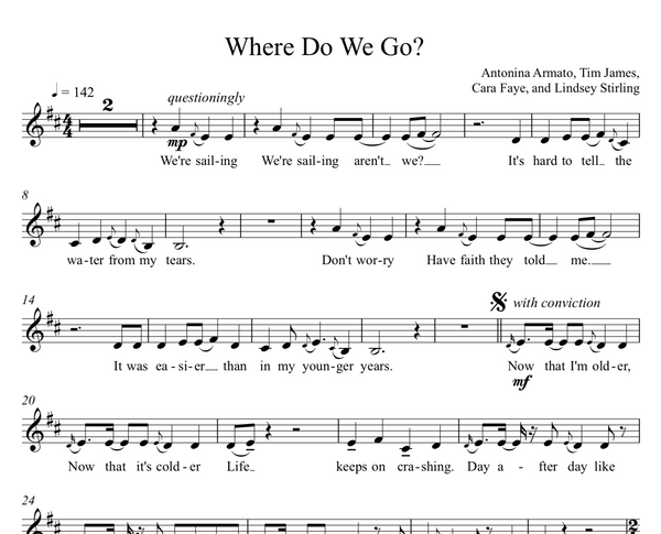 Where Do We Go Sheet Music w/ KARAOKE
