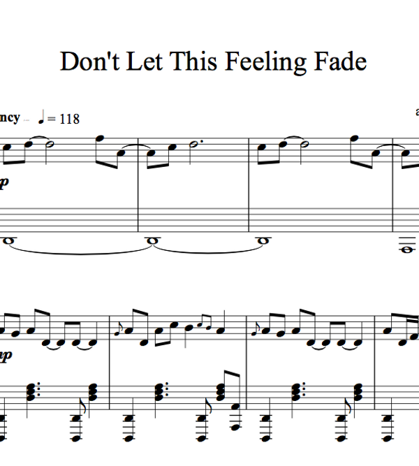 PIANO - Don't Let This Feeling Fade Sheet Music