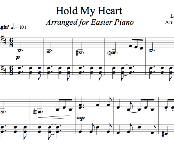 PIANO Hold My Heart Sheet Music