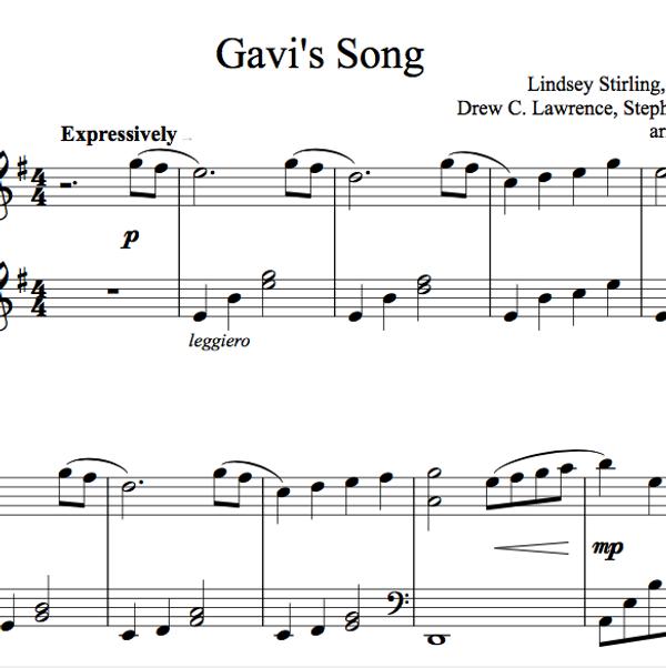 PIANO -  Gavi's Song Sheet Music