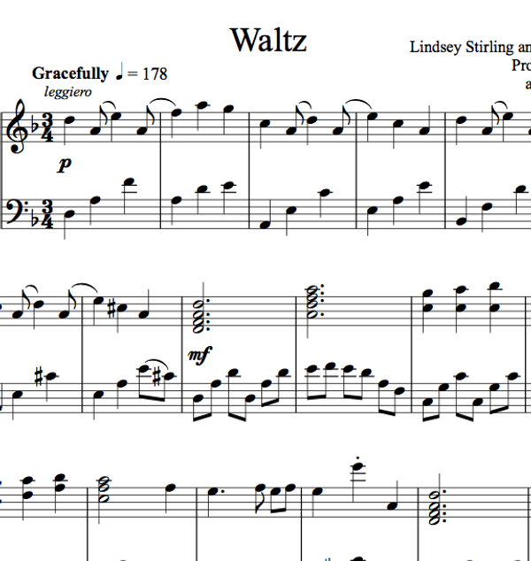 PIANO -  Waltz Sheet Music
