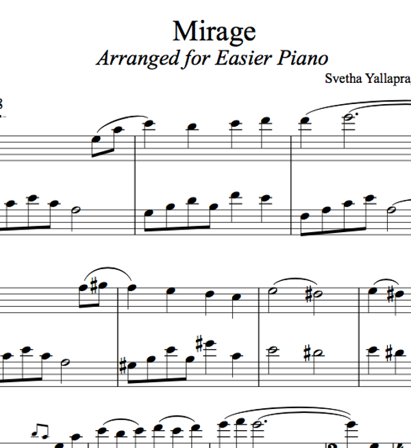 PIANO -  Mirage Sheet Music