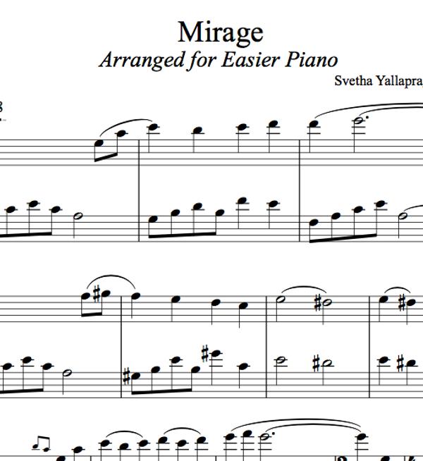PIANO Mirage Sheet Music