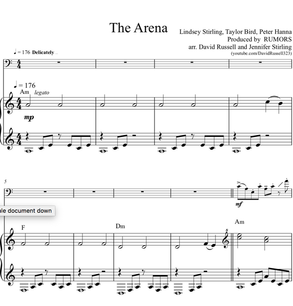 CELLO - The Arena w/ KARAOKE Play-Along Tracks - Sheet Music