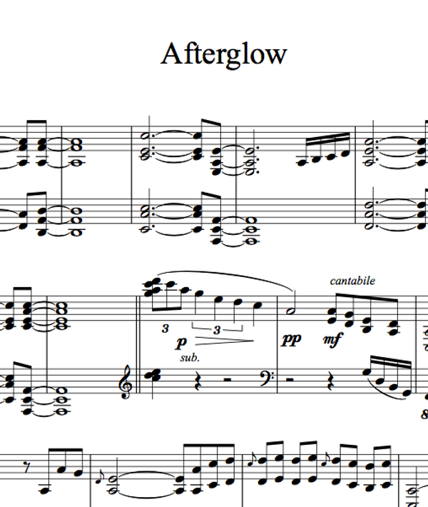 PIANO Afterglow Sheet Music