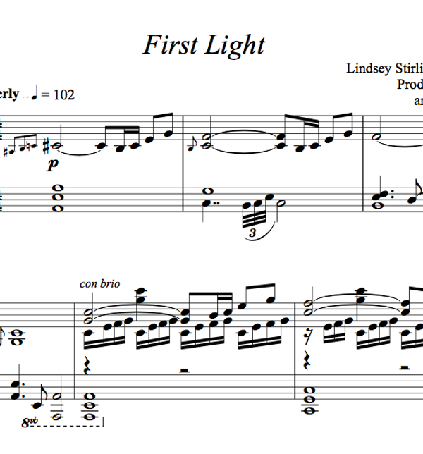 PIANO -  First Light Sheet Music