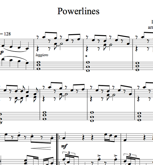 PIANO -  Powerlines Sheet Music