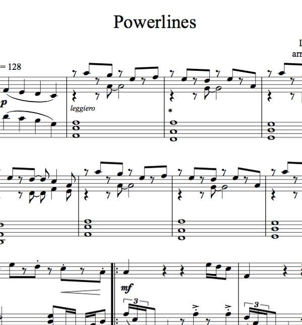 PIANO Powerlines Sheet Music