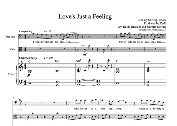 VIOLA Love's Just a Feeling w/ KARAOKE Play-Along Tracks - Sheet Music