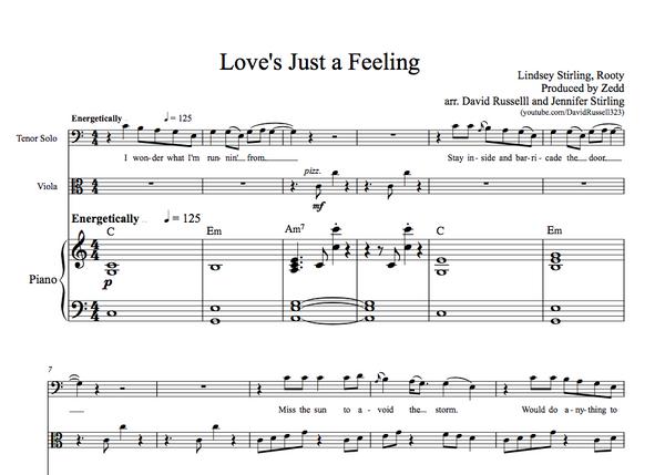 VIOLA Love's Just a Feeling w/ KARAOKE Play-Along Tracks - Sheet Music