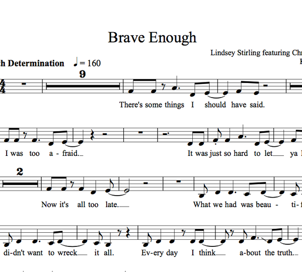 Brave Enough - w/KARAOKE tracks - Sheet Music