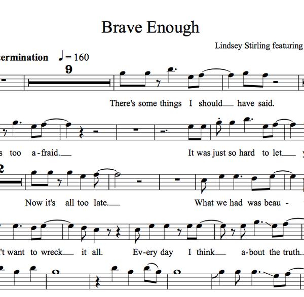 VIOLA Brave Enough Sheet Music w/ KARAOKE