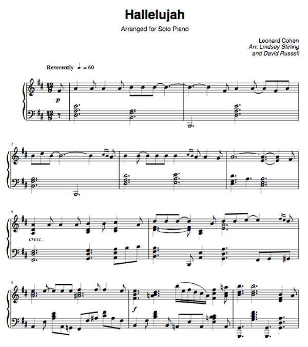 PIANO -  Hallelujah Sheet Music
