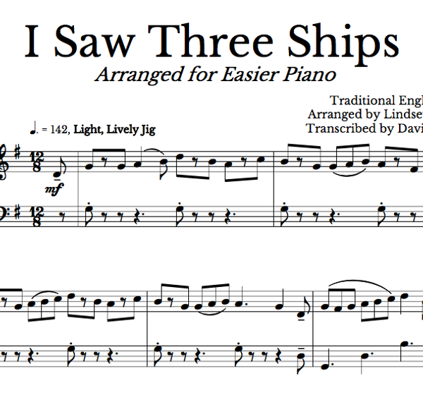 PIANO I Saw Three Ships Sheet Music