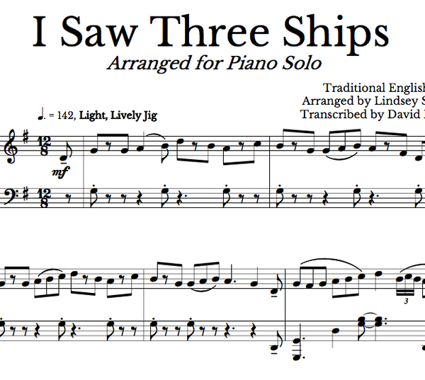 PIANO -  I Saw Three Ships Sheet Music