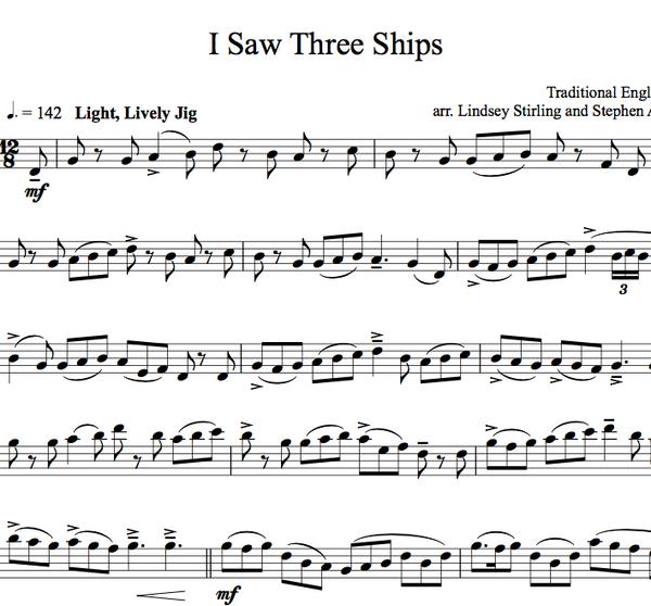I Saw Three Ships Sheet Music w/KARAOKE