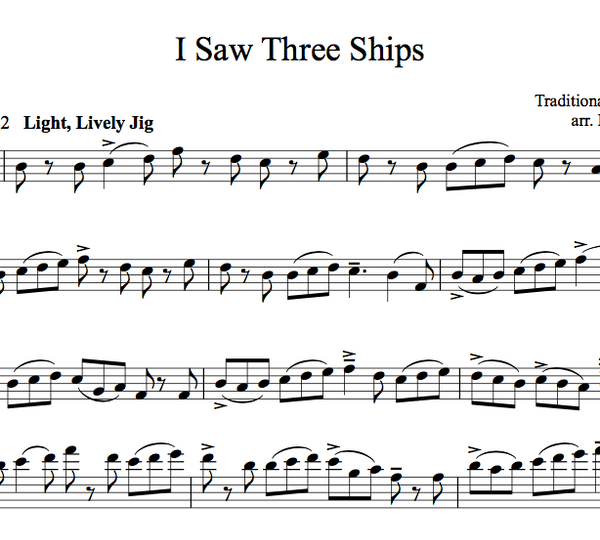 VIOLA I Saw Three Ships Sheet Music w/ KARAOKE
