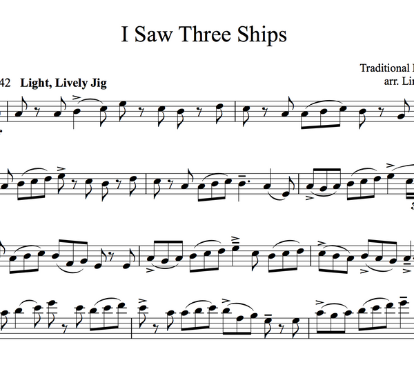 CELLO I Saw Three Ships Sheet Music w/ KARAOKE