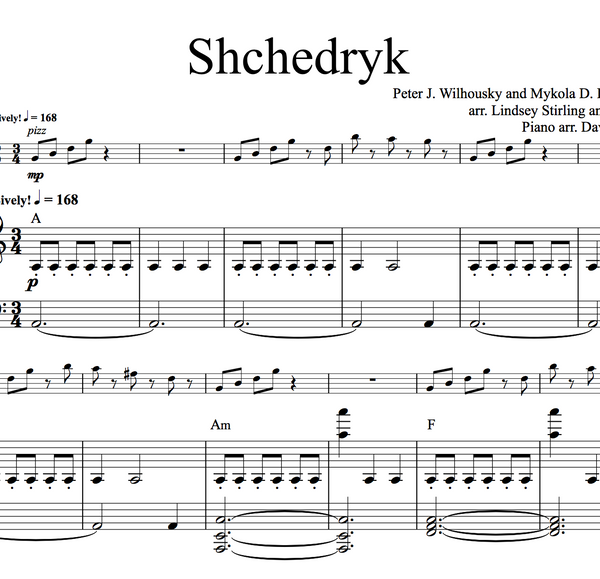 VIOLA Shchedryk (Carol of the Bells) w/ KARAOKE Play-Along Tracks - Sheet Music