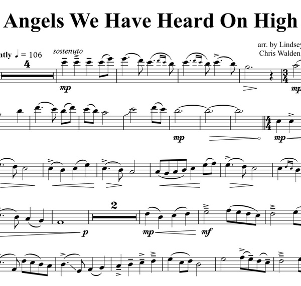 CELLO - Angels We Have Heard On High w/ KARAOKE Play-Along Tracks - Sheet Music