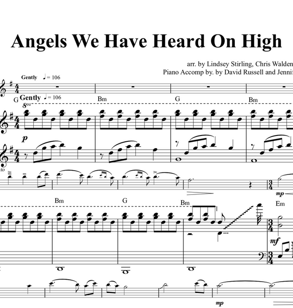 Angels We Have Heard On High w/KARAOKE Play-Along tracks - Sheet Music