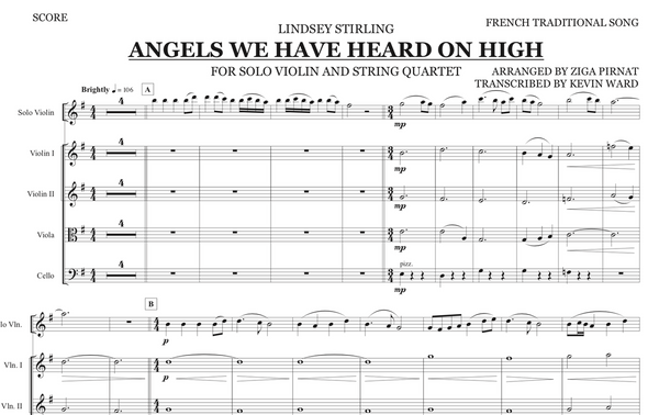 String Quartet+Vln Solo - Angels We Have Heard On High w/ KARAOKE Play-Along Track - Sheet Music