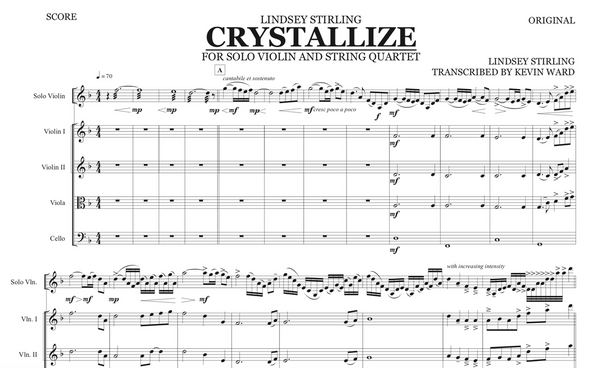 String Quartet+Vln Solo - Crystallize w/ KARAOKE Play-Along Track - Sheet Music