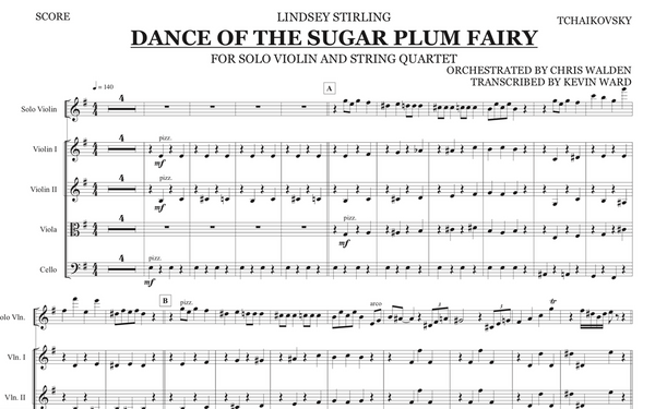 String Quartet+Vln Solo - Dance of the Sugar Plum Fairy w/ KARAOKE Play-Along Track - Sheet Music