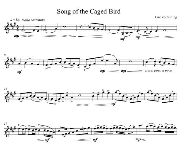 Song of the Caged Bird Sheet Music w/ KARAOKE
