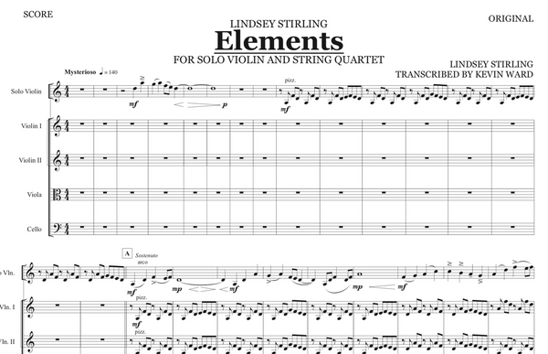 String Quartet+Vln Solo - Elements w/ KARAOKE Play-Along Track - Sheet Music