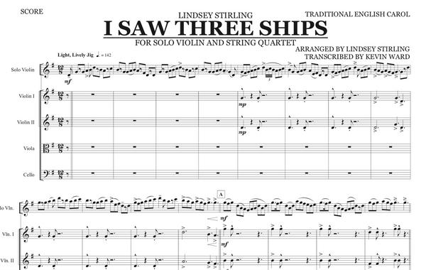 String Quartet+Vln Solo - I Saw Three Ships w/ KARAOKE Play-Along Track - Sheet Music
