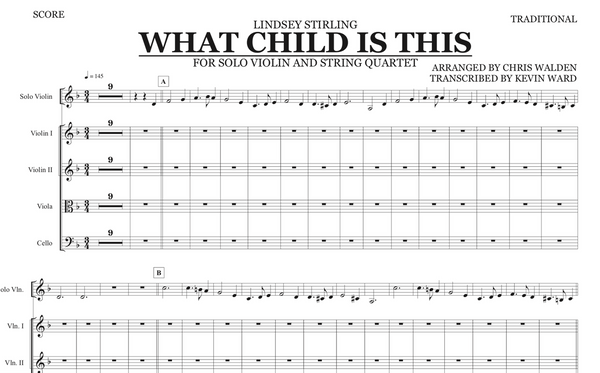 String Quartet+Vln Solo - What Child Is This w/ KARAOKE Play-Along Track - Sheet Music