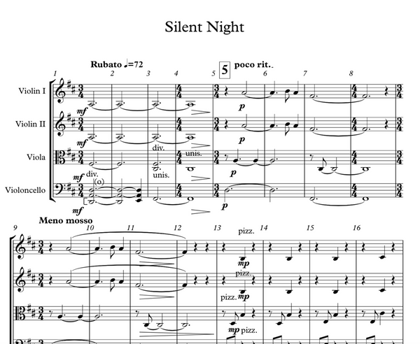 String Quartet+Vln Solo - Silent Night w/ KARAOKE Play-Along Track - Sheet Music