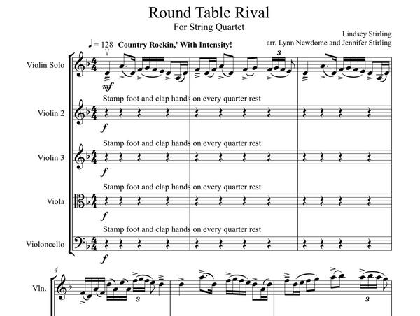 String Quartet+Vln Solo - Round Table Rival w/ KARAOKE Play-Along Track - Sheet Music