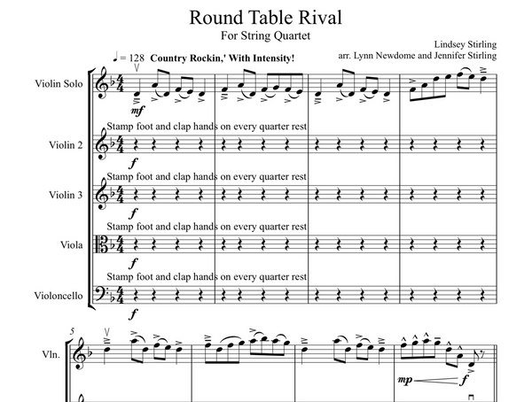 String Quartet+Vln Solo - Round Table Rival w/ KARAOKE Play-Along Track - Sheet Music