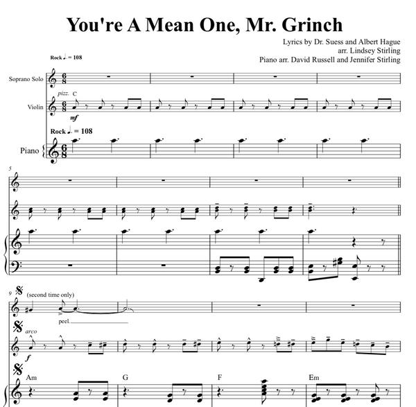You're a Mean One Mr. Grinch Sheet Music w/ KARAOKE