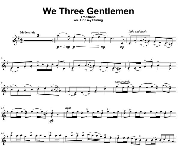 We Three Gentlemen Sheet Music w/ KARAOKE