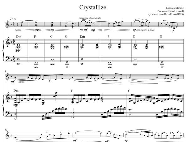 Crystallize Sheet Music w/ KARAOKE