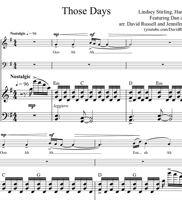 CELLO - Those Days w/ KARAOKE Play-Along Tracks - Sheet Music