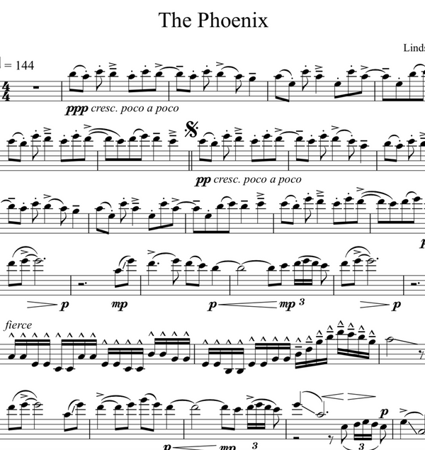 CELLO - The Phoenix w/ KARAOKE Play-Along Tracks - Sheet Music
