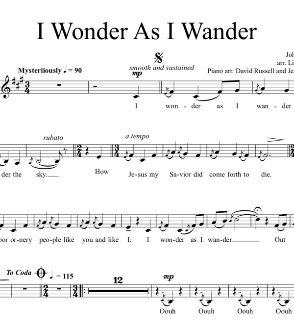 I Wonder As I Wander w/Piano Accompaniment - Sheet Music