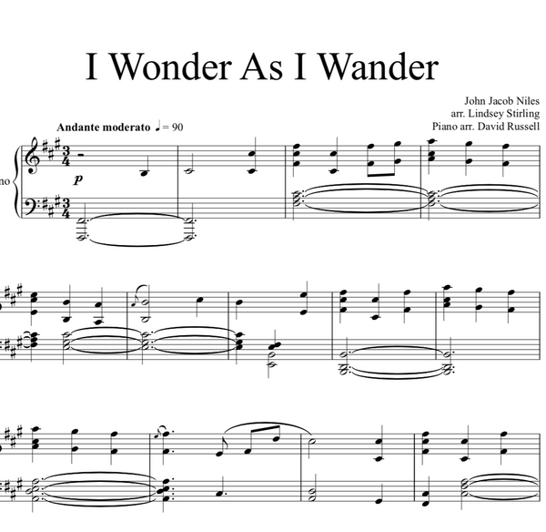 PIANO -  I Wonder As I Wander