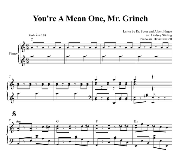 PIANO - You're a Mean One Mr. Grinch