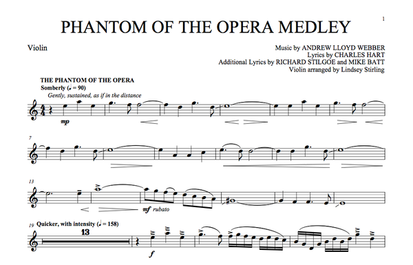 Phantom of the Opera Medley Sheet Music (Book) w/ Karaoke Play-Along Track
