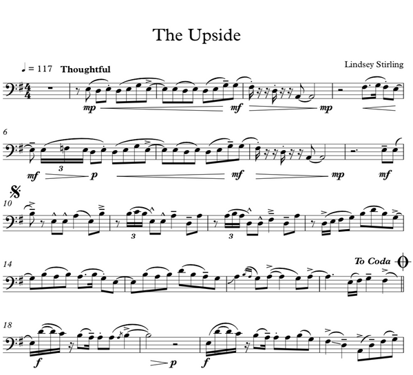 Cello The Upside w/ Piano Accompaniment - Sheet Music
